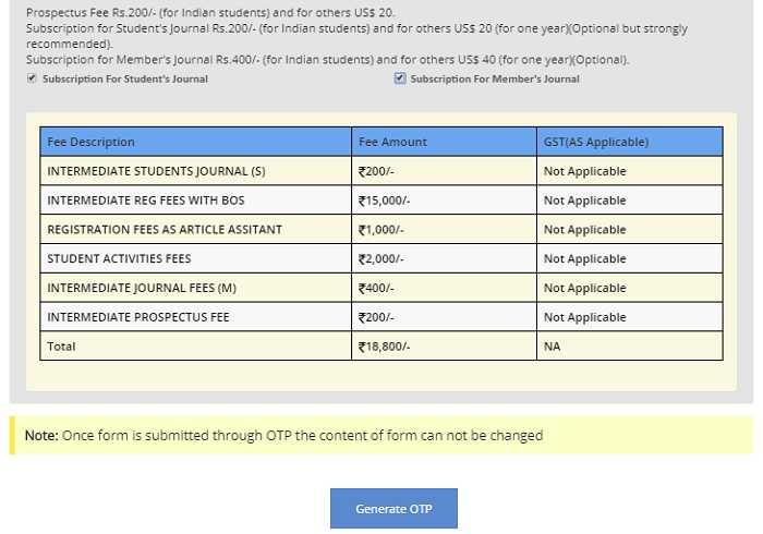 CA Inter Registration Fee