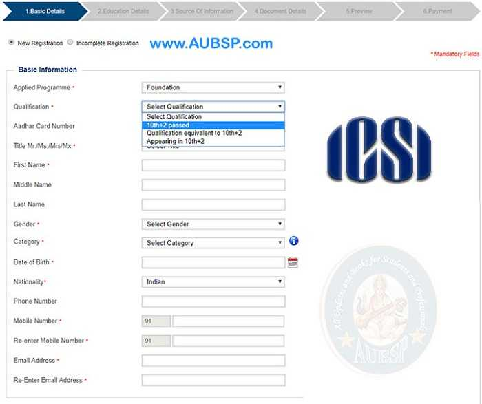 CS Foundation Registration Form