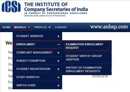 ICSI Exam Form Dec 2019: Online Enrollment Process – AUBSP
