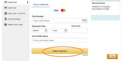 ICSI Exam Fee payment