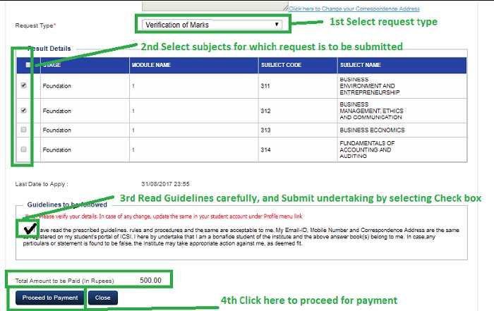 Payment for Verification of Marks